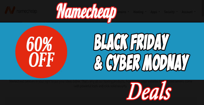 NameCheap Black Friday/Cyber Monday Deals 2016 – 60% OFF