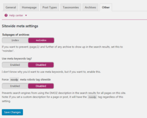 other seo by yoast setting