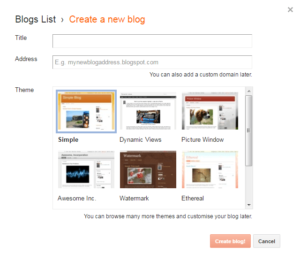 Enter A blog Name and URL blogger
