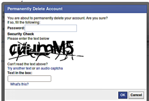 Confirm deletion of facebook account