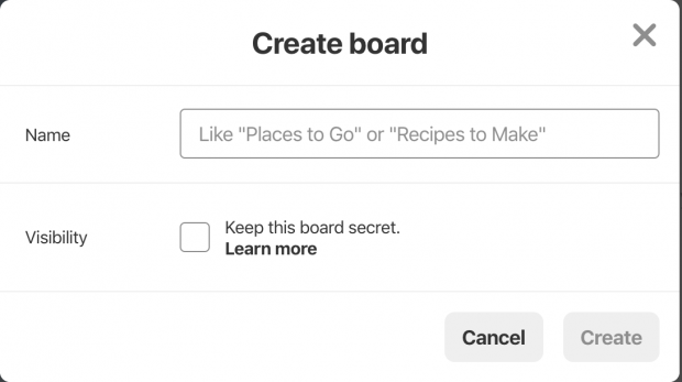 create pinterest board