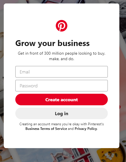 signup for pinterest