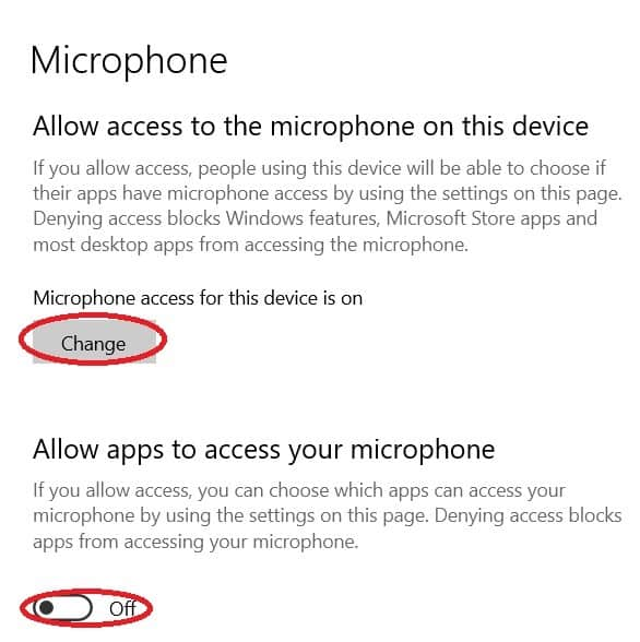 Microphone access for this device is off